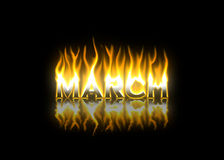 March on Fire. March Text on Fire with Reflection Stock Photo