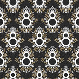 8 March floral black and gold seamless vector pattern. Stock Photo