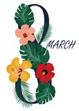 8 March Floral Card With Tropical Flowers. Vector illustration of 8 March floral greeting card with tropical flowers and palm Stock Photo