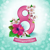8_March. 8 March. Floral Greeting card. Happy Women`s Day. Background template for International Womens Day. Vector illustration royalty free illustration