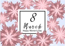 8 March. Floral Greeting card. Happy Women's Day. Pastel 8 March. Floral Greeting card. Happy Women's Day. Paper cut flower holiday background with square Frame Royalty Free Illustration