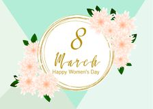 8 March. Floral Greeting card. Happy Women`s Day. Pastel 8 March. Floral Greeting card. Happy Women`s Day. Paper cut flower holiday background with square Frame Stock Illustration