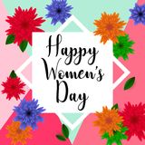8 March. Floral Greeting card. Happy Women`s Day. Pastel 8 March. Floral Greeting card. Happy Women`s Day. Paper cut flower holiday background with square Frame Vector Illustration
