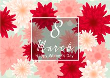 8 March. Floral Greeting card. Happy Women's Day. Pastel 8 March. Floral Greeting card. Happy Women's Day. Paper cut flower holiday background with square Frame Vector Illustration