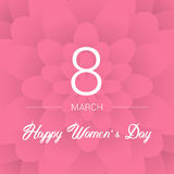 8 March. Floral Greeting card. International Happy Women`s Day. Paperholiday background with space for text. Trendy Design Templat Stock Image