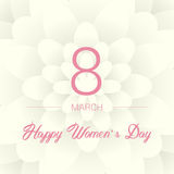 8 March. Floral Greeting card. International Happy Women`s Day. Paperholiday background with space for text. Trendy Design Templat Royalty Free Stock Photo
