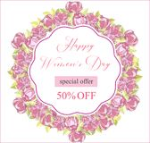 8 March. Floral Greeting card. International Happy Women s Day. Trendy Design Template. Vector illustration. 8 March. pink Floral Greeting card. International stock illustration