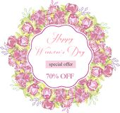 8 March. Floral Greeting card. International Happy Women s Day. Trendy Design Template. Vector illustration. 8 March. pink Floral Greeting card. International royalty free illustration