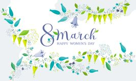 8 March flower greeting card. 8 March floral vector greeting card - fresh spring meadow flowers composition with lettering design Stock Photo