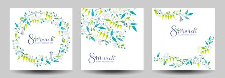 8 March flower vector greeting cards Stock Photos