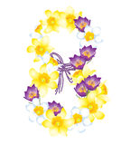 March 8, flowers daffodils and crocuses. Greeting card with March 8, flowers daffodils and crocuses Royalty Free Stock Photos