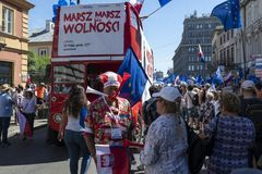 March of Freedom in Warsaw on May 12, 2018. WARSAW, POLAND - MAY 12, 2018: Thousands of Poles marched in Warsaw in March of Freedom to demand respect for country Royalty Free Stock Images