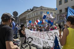 March of Freedom in Warsaw on May 12, 2018. WARSAW, POLAND - MAY 12, 2018: Thousands of Poles marched in Warsaw in March of Freedom to demand respect for country Royalty Free Stock Photos
