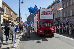 March of Freedom in Warsaw on May 12, 2018. WARSAW, POLAND - MAY 12, 2018: Thousands of Poles marched in Warsaw in March of Freedom to demand respect for country Stock Photography