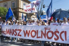 March of Freedom in Warsaw on May 12, 2018. WARSAW, POLAND - MAY 12, 2018: Thousands of Poles marched in Warsaw in March of Freedom to demand respect for country Stock Photos