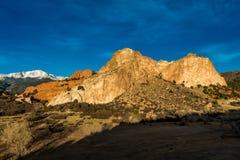 MARCH 8, 2017 GARDEN OF THE GODS, COLOARDO SPRINGS, CO, USA - a National Natural Landmark features Sedimentary rock formation Stock Photos