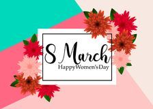 8 March with Geometric Cristal. Happy Mother`s Day. Paper Cut Floral Greeting card royalty free illustration