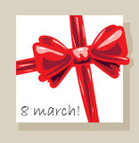8 march. Gift box and red bow vector illustration Royalty Free Stock Image