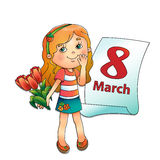 March 8. Girl with bouquet of tulips with a calendar. March 8. Mother's day. Women's day. Beautiful girl with bouquet of tulips in his hand with a calendar on a Stock Images