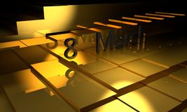 8 March gold floor, 3d render. Working Stock Image