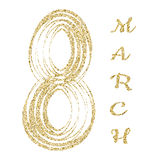 8 March gold glitter lettering. International Women s Day.  Royalty Free Stock Photos