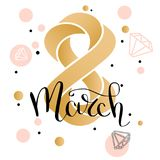 8 March gold glitter for Women Day greeting card and luxury text lettering. Calligraphy lettering. Vector illustration. EPS 10 vector illustration