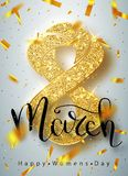 8 March gold glitter for Women Day greeting card and luxury text lettering on a white background. Womans Day concept design. Calli. Graphic pen inscription royalty free illustration