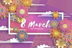 8 March. Gold Purple Happy Women`s Day. Mother`s Day. Paper cut Floral Greeting card. Origami flower. Text. Rectangle. Frame. Spring blossom. Seasonal holiday vector illustration