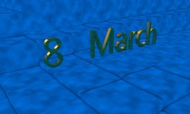 8 March gold text, 3d render. Working Royalty Free Stock Photos
