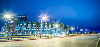 March 2017 Green Bay Wisconsin - Lambeau Field - Green Bay Packers at night stock photos