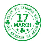 March 17. Green grunge rubber stamp with clover and the text Happy St. Patricks Day. Written inside. Design element for celebration of Saint Patricks Day Royalty Free Stock Images