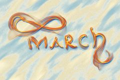 March 8 greeting card. Background for International Women's Day. Lettering made by ivory in the desert sand, creative concept.  Royalty Free Illustration