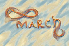 March 8 greeting card. Background for International Women's Day. Lettering made by ivory in the desert sand, creative concept.  Stock Illustration