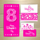 March 8 greeting card. Background for Womans Day Stock Images