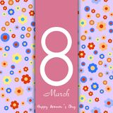 8 March greeting card with colorful flowers. Happy Women`s day greeting card. Vector. 8 March greeting card with colorful flowers. Happy Women`s day greeting Royalty Free Illustration