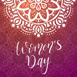 The 8 of March greeting card. Creative template with qoute for Happy Women`s Day. Vector illustration for poster or banner Stock Image