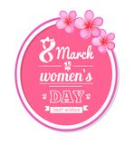 8 March Greeting Card International Womens Day. 8 March greeting card design dedicated to International Womens day in pink frame decorated by flowers, vector vector illustration
