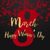 8 March greeting card with falling hearts on black. Happy Women`s Day. Vector.  Stock Illustration