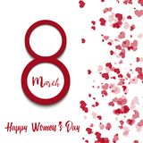 8 March greeting card with falling red hearts. Happy Women`s Day. Vector.  royalty free illustration