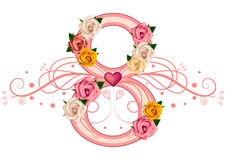 8 March greeting card. Floral figure eight with roses and tracery isolated on white background. Vector illustration Royalty Free Stock Photography