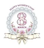 8 march. Greeting card with a floral pattern in an openwork circle with a beautiful bow Stock Images