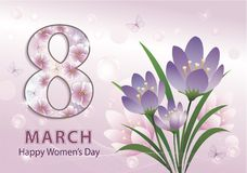 March 8. Happy Women`s Day. March 8. Greeting card with flowers for beautiful women. Vector illustration Stock Illustration