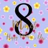 8 March greeting card with flowers and hand lettering text. Vector.  Royalty Free Stock Photo