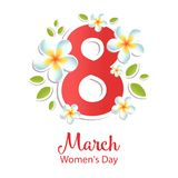 8 March greeting card with flowers.  International Women`s day. Vector illustration Stock Photo