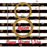 8 March greeting card with gold hand written text. Happy Women`s Day. Vector. 8 March greeting card with gold hand written text. Happy Women`s Day. Vector stock illustration