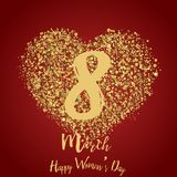 8 March greeting card with gold hearts on red. Happy Women`s Day. Vector.  Stock Photo