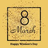 8 March greeting card with gold sparkles. Happy Women`s Day. Vector. 8 March greeting card with gold sparkles. Happy Women`s Day. Vector Royalty Free Stock Photography