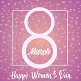 8 March greeting card with hand written text and square frame on pink. Happy Women`s Day. Vector.  Royalty Free Stock Photos