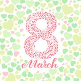 8 March greeting card. With hearts Stock Photos