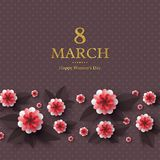 March 8 greeting card. March 8 greeting card for International Womans Day. Paper cut flowers with golden glitter text, holiday background. Vector illustration Royalty Free Stock Photography